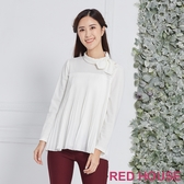 【RED HOUSE 蕾赫斯】微高領百褶上衣(白色)