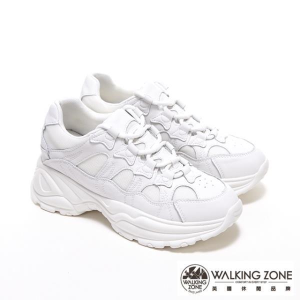 【南紡購物中心】WALKING ZONE 牛皮網布拼接綁帶內增高鞋老爹鞋小白鞋 女鞋-白