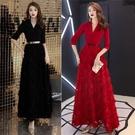 禮服晚禮服裙女秋冬季新款宴會氣質年會主持人長款簡單大方顯瘦紅色裙 優拓