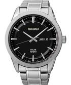 SEIKO 精工 紳士風格太陽能時尚錶-黑/44mm V158-0AS0D(SNE363P1)