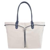 【南紡購物中心】agnes b.新款束繩手提包(大/米灰x藍提把)
