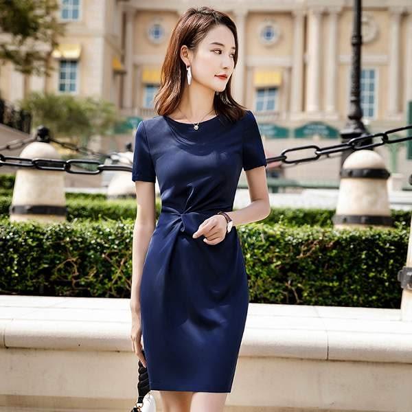 圓領抓皺顯腰OL上班短袖洋裝連身裙[8X216-PF] 美之札