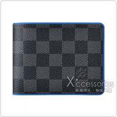 LV N64434 MULTIPLE棋盤格LOGO Damier Graphite帆布5卡對折短夾(螢光藍)