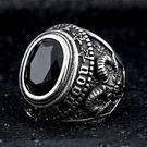 《 QBOX 》FASHION 飾品【RBR8-334】精緻個性復古寬版共濟會鋯石鑄造鈦鋼戒指/戒環(二色)