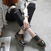 小皮鞋女英倫風2021新款平底韓版百搭牛津鞋拼色系帶復古圓頭單鞋 中秋節限時好禮