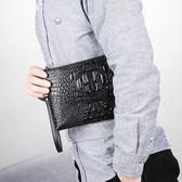 手拿包男2018新款韓版潮包鱷魚紋手包男士包手抓包個性青年信封包『小淇嚴選』