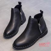 切爾西短靴 女百搭小靴子女秋冬季刷毛大尺碼英倫風馬丁靴女2020新款T
