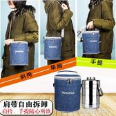 圓形飯盒保溫袋手提包防水飯盒包便當包大容量帶飯手提袋保溫桶包 解憂雜貨鋪 解憂雜貨鋪