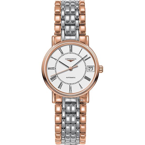 LONGINES浪琴 Presence 經典羅馬機械女錶-白x雙色/29mm L43221117