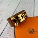 BRAND楓月 HERMES 愛馬仕 Y刻 棕色金釦 鱷魚皮 窄版 CDC 手環 尺寸T2