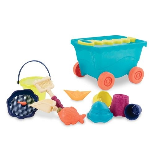 美國【B.Toys】感統玩具-挖挖兵拉拉車(海洋藍)BX1309Z[衛立兒生活館]