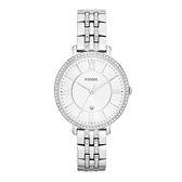 【Fossil】Jacqueline羅馬時標晶鑽時尚鋼帶腕錶-晶鑽銀/ES3545/台灣總代理公司貨享兩年保固
