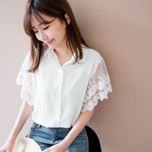 MIUSTAR 透膚網紗蕾絲雕花袖排釦襯衫(共2色)【NH1165】預購