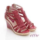 effie 輕音躍 蠟感真皮編織楔型涼鞋 紅色