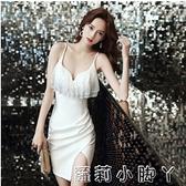 2021新款女短款晚禮服吊帶連衣性感包臀生日名媛小黑裙原創設計 NMS蘿莉新品