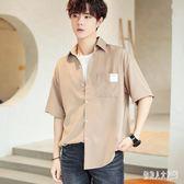 襯衫男2019新款韓版潮流帥氣男士條紋短袖寬鬆休閒襯衫 QW3668『俏美人大尺碼』