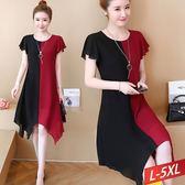 黑紅對稱不規則裙擺洋裝L~5XL【871317W】【現+預】☆流行前線☆