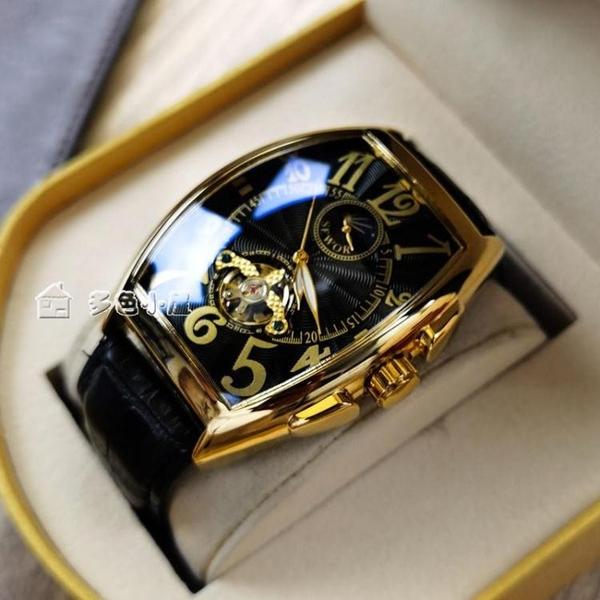 男錶21年新款男士機械錶防水酒桶型鏤空皮帶男錶個性社會小伙腕錶男 快速出貨
