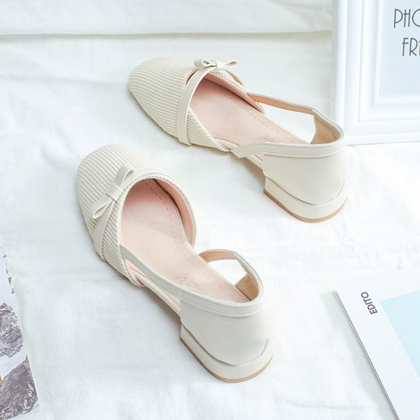低跟鞋 單鞋女春季時尚百搭方頭低跟仙女涼鞋溫柔平底晚晚包頭夏 芊墨左岸