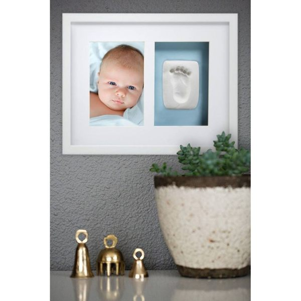 美國Pearhead- 寶寶掌印掛牆相框–白色