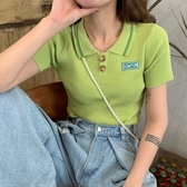 韓國chic夏季新款抹茶綠小清新減齡百搭修身顯瘦露肚臍針織衫上衣 居享優品