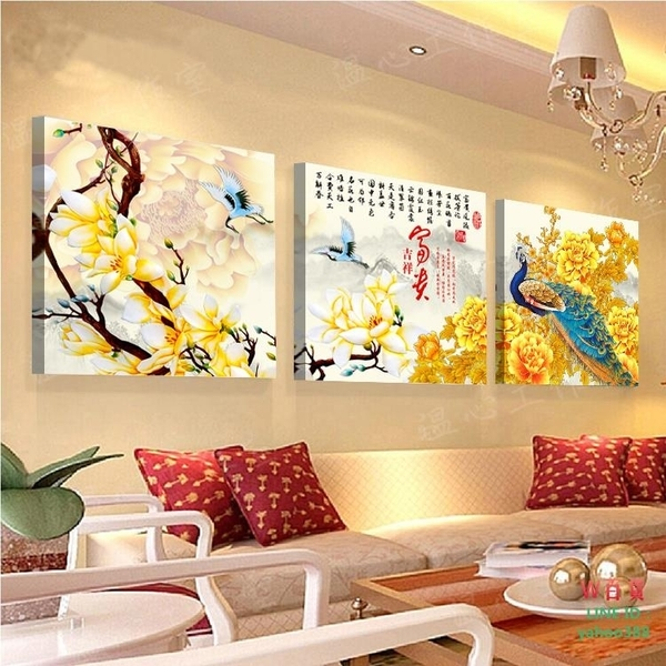 無框畫裝飾畫孔雀富貴吉祥客廳沙發背景辦公室三聯墻掛畫