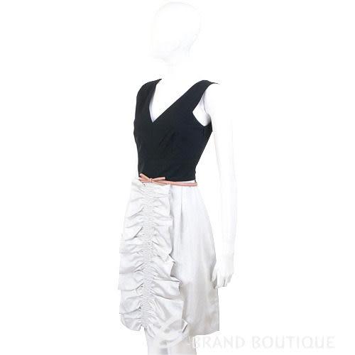 MOSCHINO 銀灰色皺褶設計拼接無袖V領洋裝(不含腰帶) 0890028-06