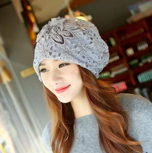 韓版雙層花朵做月子保暖防風套頭帽 月子帽 孕婦帽 鏤空蕾絲 緹花 媽咪寶貝