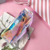 創意簡約可愛卡通鐳射筆袋小清新鉛筆盒女軟妹透明文具袋【新店開張85折促銷】
