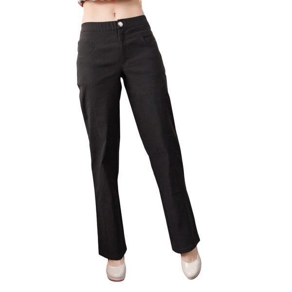 內刷毛--OL最佳首選側邊弧型車線褲頭彈性設計內刷毛西裝褲(黑XL-7L)-P62眼圈熊中大尺碼★