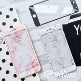淡雅 大理石紋 iPhone 7 8 plus 軟邊 防爆鋼化膜 蘋果 石紋炫彩 玻璃模彩貼 手機膜 螢幕 保護膜