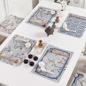 現代中式花紋幾何ins西餐墊隔熱墊餐杯墊