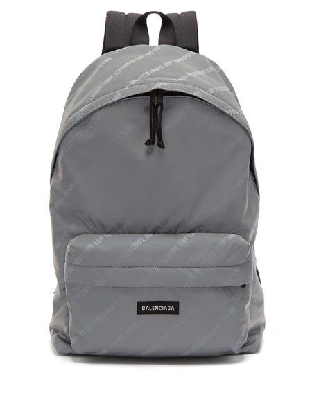 巴黎世家 Balenciaga 3M反光 經典品牌 Logo Nylon 尼龍 後背包 灰色