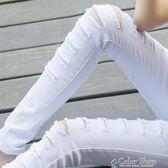 韓版春夏新款女黑白色破洞牛仔長褲修身顯瘦小腳鉛筆打底褲color shop