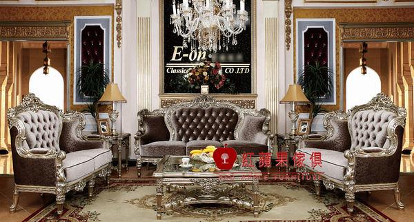 [紅蘋果傢俱] F111T 洛克思瑞系列 新古典 法式 歐式 布藝沙發組 1+2+3布藝沙發 方几 長几 角几