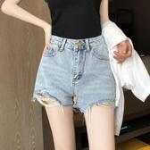 牛仔短褲女2020年夏季薄款高腰顯瘦a字毛邊破洞ins網紅新款淺藍色