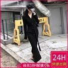 【現貨】梨卡 -浪漫V領甜美純色黑色顯瘦長袖中長版針織裙連身長裙洋裝連身裙連衣裙BR906