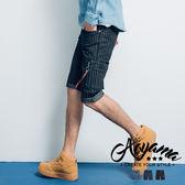 短褲 MA1雙飄帶直條紋彈力牛仔短褲 【A9160】休閒短褲 美式風格 MA-1 青山AOYAMA
