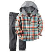 Carter's平行輸入童裝 男寶寶 長袖連帽襯杉西裝上衣&褲子 藍【CA249G257】