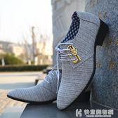 皮鞋男士布商務休閒潮流韓版男透氣英倫系帶尖頭潮男鞋 快意購物網
