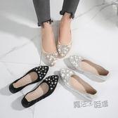 低跟單鞋 正韓百搭單鞋平底鞋尖頭淺口蛋卷豆豆鞋休閒大碼女鞋 『魔法鞋櫃』