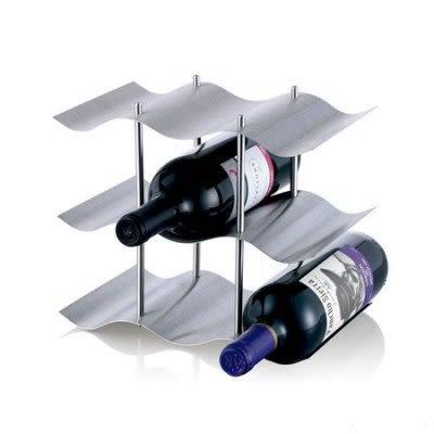 酒吧擺設酒架  葡萄酒架  三層不銹鋼 可放九瓶【藍星居家】
