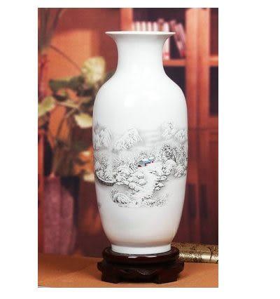 景德鎮陶瓷器花瓶現代家居工藝裝飾擺件雪景東瓜粉彩花瓶