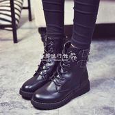 馬丁靴  繫帶馬丁靴潮女騎士靴中筒平跟圓頭短靴單鞋棉靴平底女鞋 『歐韓流行館』