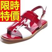 涼鞋-平底別緻流行復古與眾不同女休閒鞋2色56l86【巴黎精品】