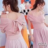 上衣 大V領素色針織短袖上衣-Ruby s 露比午茶