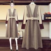 大碼女裝2020年秋新款溫婉氣質毛衣+連衣裙子顯瘦胖妹妹兩件套裝