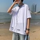 港風寬松青少年短袖T恤男2021夏季新款五分袖破洞七分袖潮流衣服