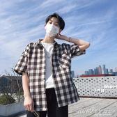 夏季新款男士韓版半袖襯衣潮流青少年修身休閒格子短袖襯衫外套      時尚教主