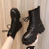 短靴 黑色馬丁靴女夏季薄款透氣夏天百搭單靴厚底增高短靴子-Ballet朵朵